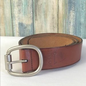 Fossil Genuine Brown Leather Silver Buckle Sz S